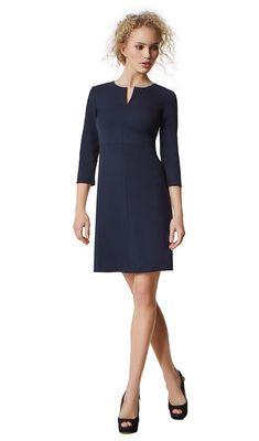 Rachel - navy - Wool stretch A-line dress | LaDress