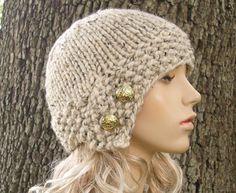 Knit Hat Womens Hat Cloche Hat in Oatmeal Knit Hat Oatmeal