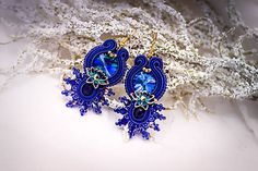 Royal blue soutache earrings with crystals and lotus by nikuske on Etsy Blue Earrings, Beaded Earrings, Earrings Handmade, Soutache Bracelet, Soutache Jewelry, Royal Blue And Gold, Handmade Design, Mother Gifts, Headbands