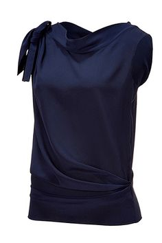 ALBERTA FERRETTI  Navy Draped Silk Top, $590