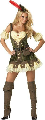 Racy Robin Hood - sexy Renaissance costume with cute rook design in skirt - great Halloween costume!