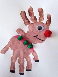 10 Handprint Christmas Crafts for Kids - Parenting Handprint Rudolph Craft - Reindeer Craft - Christmas Craft - Preschool Craft Kids Crafts, Daycare Crafts, Toddler Crafts, Craft Projects, Craft Ideas, Kids Diy, Toddler Christmas Crafts, Christmas Projects For Kids, Christmas Activities For Toddlers