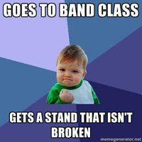 That never happens. Our Jr. High  got new stands, but the high school's are all broken. :(