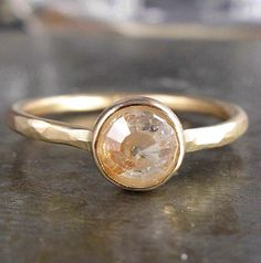 6mm Peach Champagne Rose Cut Raw Diamond and Recycled 14k Gold Ring - stunning