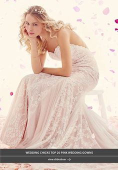Blush tones may never go out of style, and we are all definitely ok with that. In honor of all things pink and pretty we have rounded up our top 20 favorite pink wedding gowns. From a haute couture pink wedding dress to a relaxed ever so perfect for a beach wedding dress. Above dress is a Tia Adore lace wedding gown with a rose underlay.