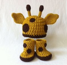 Baby Giraffe Hat and Hoof Boots -Newborn to 3 Months , 3-6 Months - Photo Prop - Crochet Animal Beanie Hat Booties on Etsy, $35.00