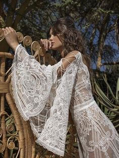 Boho wedding dress ELMYT with long train by RARA AVIS. Boho Wedding Dress, Wedding Gowns, Prom Gowns, Bridal Gown, Prom Dress, Sexy Dresses, Evening Dresses, Midi Dresses, Bohemia Wedding