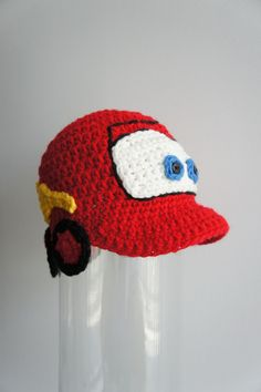 Lightning McQueen hat Cars hat Crochet Baby Hat by stylishbabyhats Crochet Kids Hats, Crochet For Boys, Crochet Beanie, Knit Or Crochet, Bead Crochet, Crochet Crafts, Crochet Projects, Knitted Hats, Crochet Character Hats