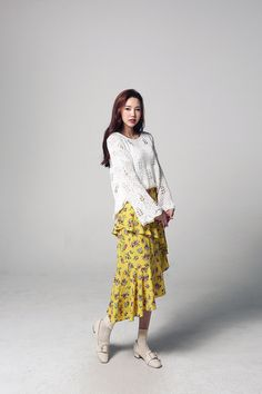 Buy Flower Shirring Diag Skirt at Korean Fashion Store. Find the latest Korean fashion trends popular in South Korea right at our store. We are constantly adding new styles daily so come take a look! Muslim Fashion, Modest Fashion, Fashion Outfits, Womens Fashion, Fashion Tips, Apostolic Fashion, Us Online Clothing Stores, Korean Fashion Trends, Ulzzang Fashion