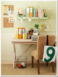 Inspiration for a small, yet organized, workspace... if only all of my stuff would fit! But great idea for a 2nd little workspace near the kitchen
