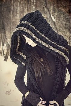 Crochet Vest with large Hood <3