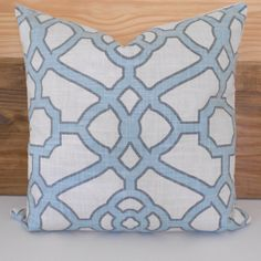 Light blue trellis decorative pillow cover by pillowflightpdx