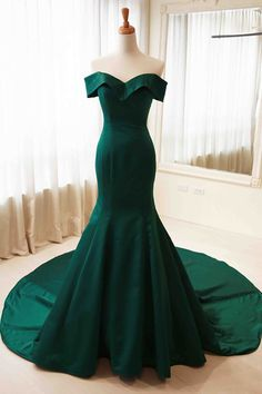 Green prom dress,satin prom dress,off-shoulder prom dress,mermaid long prom dress,Sweep train formal dresses