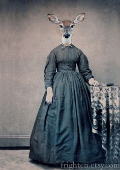 Deer Art Print Altered Civil War Portrait Violet by frighten, $ 15.00