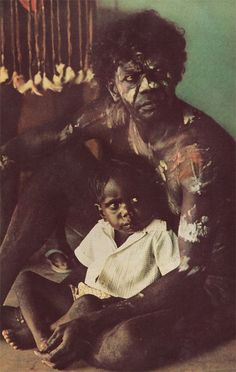 Australia | Aboriginal father and son | Image scanned from National Geographic February 1973 Thomas Nebbia