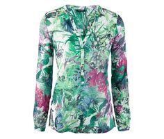 699 Kč Oslnivě exotická! Tato okouzlující tuniková halenka z lehké tkané bavlny kombinuje zářivé barvy s tropickým potiskem.