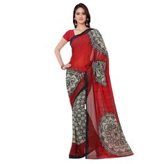 Red design saree. Make your viewer skip a heart beat with a glance on your feminine beauty with this excellent designer georgette saree.