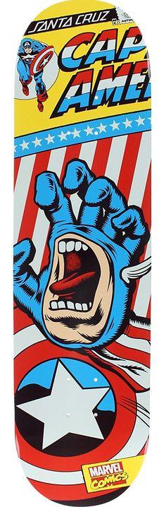 Santa Cruz Skateboards Marvel Captain America Hand Skateboard Deck