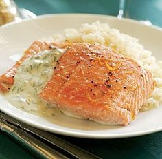 OrangeRoasted Salmon with YogurtCaper Sauce