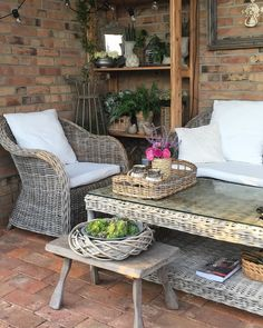 These garden design ideas are the key to a scheme you'll love for years to come. Rustic Gardens, Outdoor Furniture Sets, Outdoor Decor, Cottage Homes, Garden Styles, Brick Wall, Garden Inspiration, Rustic Decor, Garden Design