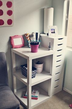 IKEA Lack Tables placed together - a great idea for a bedside table or end table in the living room. Standing Vanity Idea