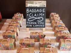 See more party planning ideas at CatchMyP… Bon Voyage birthday party favors! Wedding Favor Table, Wedding Party Favors, Wedding Favours Travel Theme, Travel Theme Parties, Travel Theme Weddings, Wedding Souvenir, Lake Theme Wedding, Travel Wedding Gifts, Wedding Table Themes