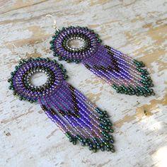 Purple Bohemian Style Seed Bead Earrings by anabel27.deviantart.com on @deviantART