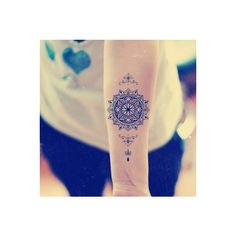Mandala Temporary Tattoo Ethnic Art Mandala Art Large Temporary Tattoo... (€6,26) ❤ liked on Polyvore featuring accessories and body art
