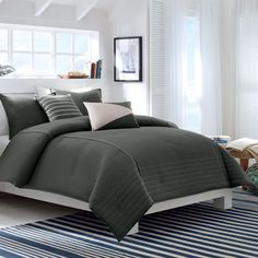 Nautica Crew Charcoal Bedding Collection from Beddingstyle.com  #BeddingStyle