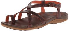 Chaco Women's Dorra Sandal, Mecca, 8 M US. Outdoor sandal featuring slender leather straps with toe ring, crisscross vamp, backstrap, and adjustable buckle at ankle. Gore on medial side. Burnished leather footbed topsole with embroidered wave graphic. Women's-specific luvseat dual-density PU midsole with antimicrobial odor-control properties. Non-marking Eco Tread outsole made with 25% recycled rubber.