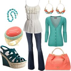 dislike the coral and teal colors, but love the long tunic shirt over jeans and cute esperadilles!