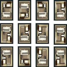 Different Design Plans For A Basic, Small Bathroom. Top, Far Right Design  For