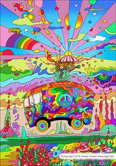 Hippie Pop Art Magic Bus psychedelic umbrella man - Hippie home decor Hippie Wallpaper, Trippy Wallpaper, Pop Art Wallpaper, Trippy Drawings, Art Drawings, Psychedelic Art, Psychedelic Pattern, Hippie Kunst, Hippy Art