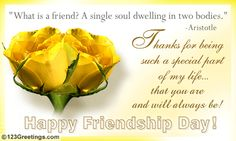 Make your best friend feel extra special with this touching thought. Free online Single Soul In Two Bodies ecards on Best Friends Day Best Friendship Day Quotes, About Friendship Day, Friendship Day Photos, National Friendship Day, Happy Friendship Day, Happy Birthday Messages, Happy Birthday Quotes, Birthday Wishes, Happy Best Friend Day