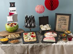 Pirate Party Foods With a watermelon pirate ship and pizza-turned-treasure map, you can bet our easy, kid-approved menu will please every pirate it meets.