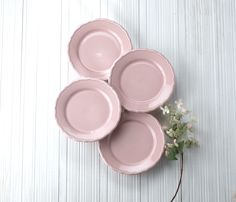 Euro Ceramica Pink Euro Ceramica Savannah Salad Plate - Set of Four Kitchen Dinning Room, Kitchen Dishes, Kitchen Stuff, Kitchen Tools, Ceramic Plates, Decorative Plates, Pink Plates, Party Dishes, Salad Plates