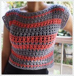 Sweet Nothings Crochet EASY-PEASY GREY N PINK CROP TOP