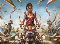 'Saheeli's Artistry' by Wesley Burt, from the 'Kaladesh' expansion for 'Magic: The Gathering'.