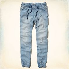 Lightweight denim fabric, elastic and drawstring waistband, pockets, subtle fading and whiskering banded elastic cuff, Light Wash, Jogger Fit, Imported