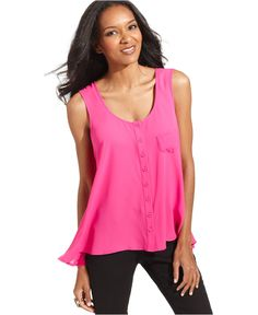 Style Top, Sleeveless Button-Down High-Low - Tops - Women - Macy's