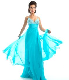 Mac Duggal Prom 2013 - Aqua Chiffon Rhinestone Empire Waist Prom Gown - Unique Vintage - Prom dresses, retro dresses, retro swimsuits.