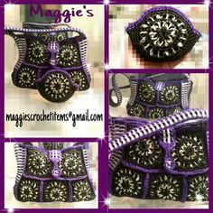 Black and purple soda tab purse
