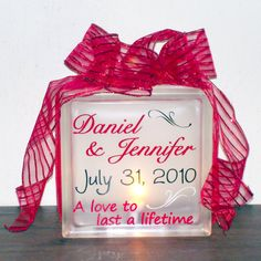 Wedding Keepsake Name & Date Lighted Glass Block - Personalized, Customized, Gift on Etsy, $30.00