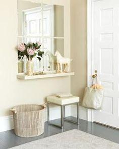 mesa consola de estante y espejo