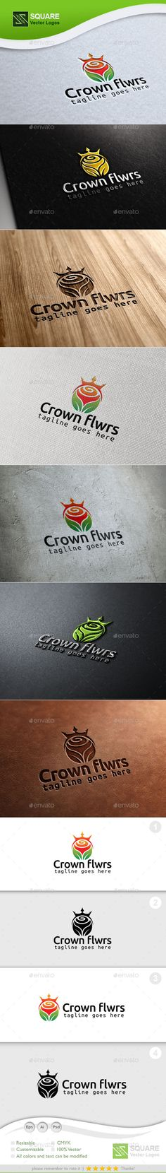 Crown Flower Custom Logo Template — Photoshop PSD #rose #petals • Available here → https://graphicriver.net/item/crown-flower-custom-logo-template/9930468?ref=pxcr