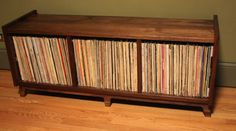 Brokenpress record storage holds 275 lp's Mo Record Shelf, Record Cabinet, Vinyl Record Storage, Bookcase Storage, Cube Storage, Storage Ideas, Creative Storage, Storage Solutions, Creative Ideas