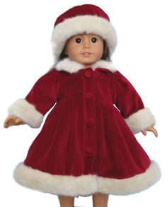 "Deep Red Velvet Fur Trimmed Coat & Hat for 18"" American Girl Doll Clothes #DollClothesSewBeautiful"