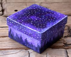 Box 4x4 painted starry night original by annarobertsart on Etsy, $45.00