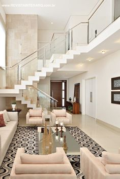Ideas for home living room decor staircases Home Stairs Design, Dream Home Design, Modern House Design, Home Interior Design, Interior Ideas, Living Room Goals, Home Living Room, Living Room Stairs, Home Deco