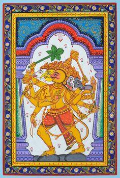 Panchamukha Hanuman, Odisha pata painting